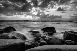 La Jolla Beach Sunset Black And White